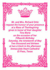 PRINCESS INVITATIONS FOR QUINCEANERA WEDDING