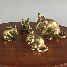 4 Pcs. Miniature Figurines Brass Rat Mouse Animal Metalwork Art #127
