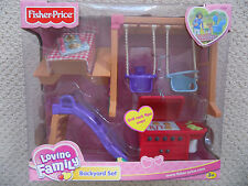 NEW Fisher-Price Loving Family Dollhouse Backyard Set Swing Slide Wagon 2002