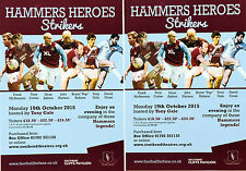 3 HAMMERS HEROES  2015 FLYERS  WEST HAM UNITED FC FRANK McAVENIE TONY COTTEE
