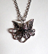 STEAMPUNK Baby CTHULHU Octopus Sea Creature Victorian Silver Necklace/PENDANT