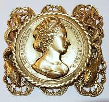 VINTAGE GOLDTONE FRANCE COIN CAMEO A. DELAGARDE DESHOULIERES W/SNAKES BROOCH PIN