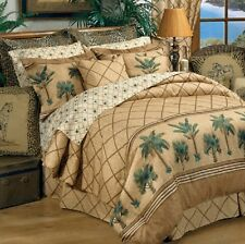 Kona Palm Tree 4 Pc Full Size Comforter Bedding Set - Tropical Beach Sand Ocean