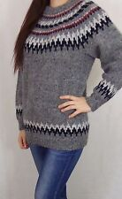 Vintage Womens Hand Knitted Icelandic Norwegian Style Jumper Medium