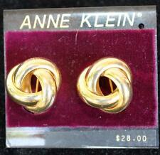 New Original Card Old Stock ANNE KLEIN Goldtone KNOT Shape Clip-On Earrings #8
