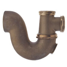 """Swing Tee Sink Drain Trap Pipe 2"""" x 1-1/2"""" IPS With Cleanout, Rough Brass, #2122"""