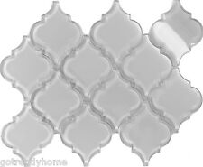 Sample White Arabesque Moroccan Pattern Glass Mosaic Tile Kitchen Backsplash Spa