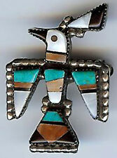 VINTAGE ZUNI INDIAN SILVER INLAID CORAL TURQUOISE ONYX THUNDERBIRD PIN