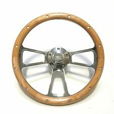 "Hot Rod Street Rod Rat Rod Ford 14"" Chrome  & Real Alderwood Steering Wheel"