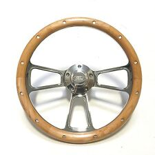 "Ford Mustang 14"" Chrome & Real Alder Wood Steering Wheel Gorgeous! SHIPS FREE!"