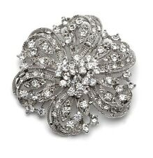 Vintage Silver & White Rhinestones Flower Shaped Brooch Pin BR121