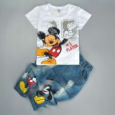 2PCS Kids Baby Boys Mickey Short Sleeve T-shirt+Jeans Sport Suit Outfit Set 4-5Y