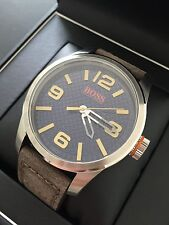 "Hugo Boss Orange ""Paris"" Leather Strap Watch Round Blue Dial 1513352 NWT Box"