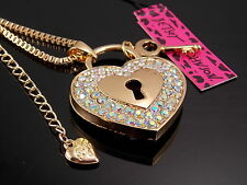 Betsey Johnson shiny AB rhinestone heart lock key pendant necklace # F260B
