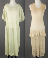 Vtg 20s 30s Lot of 2 Women's Dresses AS-IS Lace Cotton 1920s 1930s #1233