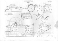 Stampa antica FILATURA varie attrezzature e strumenti meccanici 1848 Old print