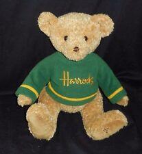 "12"" BIG HARRODS KNIGHTSBRIDGE TEDDY BEAR GREEN SHIRT STUFFED ANIMAL PLUSH TOY"