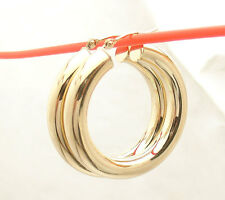 "5mm X 30mm 1 1/4"" Thick All Shiny Hoop Earrings Real 14K Yellow Gold FREE SHIP"