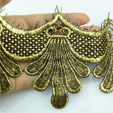 *1 Meter Embroidered Patches Sew Trims Applique Fabric Crafts Metallic Lace Gold