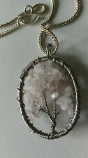 Handmade natural rose quartz, pink gemstone bead & silver necklace tree of life