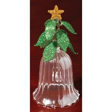 RIBBED CRYSTAL CHRISTMAS BELL FIGURINE gift DELUXE  NEW IN BOX
