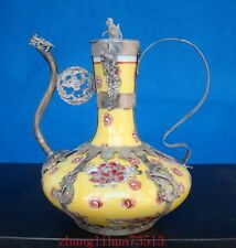 Antique Collectible Chinese Handmade Silver & Porcelain Inlaid Teapot yellow