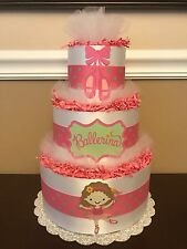 Diaper Cake Pink White Mint Green Girls Ballerina 3 Tier Baby Shower Centerpiece