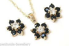 9ct Gold Sapphire Cluster Pendant and Earring Set Boxed Made in UK