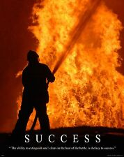 Firefighting Motivational Poster Art Fireman Equipment Badge Helmet Tools MVP211