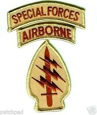 US ARMY SPECIAL FORCES WITH AIRBORNE TAB DESERT DD burdock PATCH SET