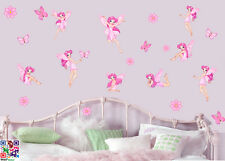 Fairies Flowers & Butterflies - Pack of 22 Printed Wall Art Stickers Girls Fairy