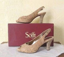 SOFFT Scafati Gold Natural Cork Slingback Heels Comfort Shoes New Womens 10/42