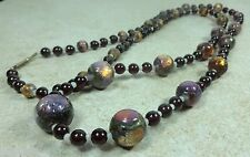 Antique Necklace of Collector Handmade Foil-Induced Beads w/Garnets