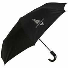 Pierre Cardin Auto Abierto ladrón Mango Corto Diseño Para Hombre Paraguas De Plata En Negro