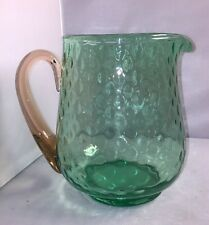 Watermelon Green Depression Water Pitcher With Pink Handle