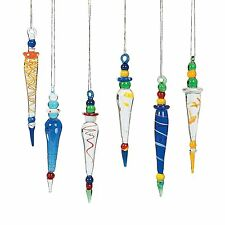 Whimsical Glass Multicolored Tear Drop Icicle Christmas Tree Ornaments (12 Pack)