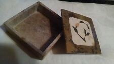 Soapstone Jewelry Trinket Box Inlaid Floral Made in India Square