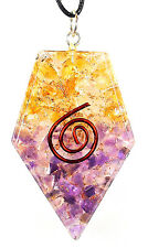 PENDANT - ORGONE (ORGONITE) JOY & HAPPINESS - Amethyst & Citrine w/Copper Spiral