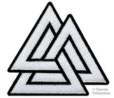VALKNUT TRIANGLE PATCH iron-on embroidered NORSE VIKING ODIN PAGAN SYMBOL WHITE