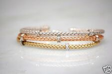 ROBERTO COIN 18K GOLD DIAMOND BANGLE BRACELETS CUFF LOT WOVEN SILK COLLECTION