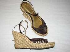 9.5 B Guess Wepowan Brown Wedge Platform Heels Woven Basket Strappy  Ladies Shoe