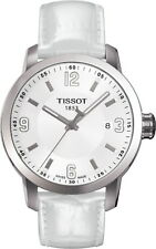 T0554101601700 Tissot PRC 200 Quartz Mens Watch White Dial White Leather Strap