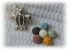Tiny Turtle Essential Oil Aromatherapy Necklace Diffuser with 6 lava stones!