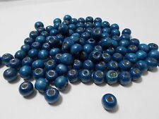 140pcs 10mm WOODEN Round Spacer Wood Beads - BLUE ( 50g ) 2nd Grade