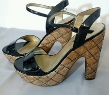 GUESS Ginnger Black Faux Patent Leather Cork Platform Women's Sandal Heels 8 B