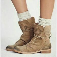 NWOB $198 Free People Tan suede distressed CAMBRIDGE WRAP BOOTS ankle 7 37
