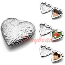 Unisex Carved Heart Friend Photo Picture Frame Locket Pendant for Necklace Gift