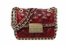 NWOT Michael Kors Carine Python Quilted Leather Messenger Handbag FREE SHIP Red