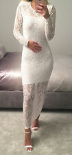 White Lace Long Sleeved Maxi Dress Cover Up Gown Size S/M 8/10