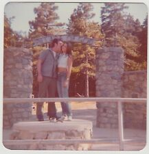 Square Vintage 70s PHOTO Young Couple In Nature w/ Pillars Of God Sign